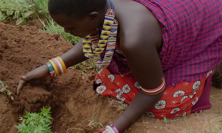 woman turning soil