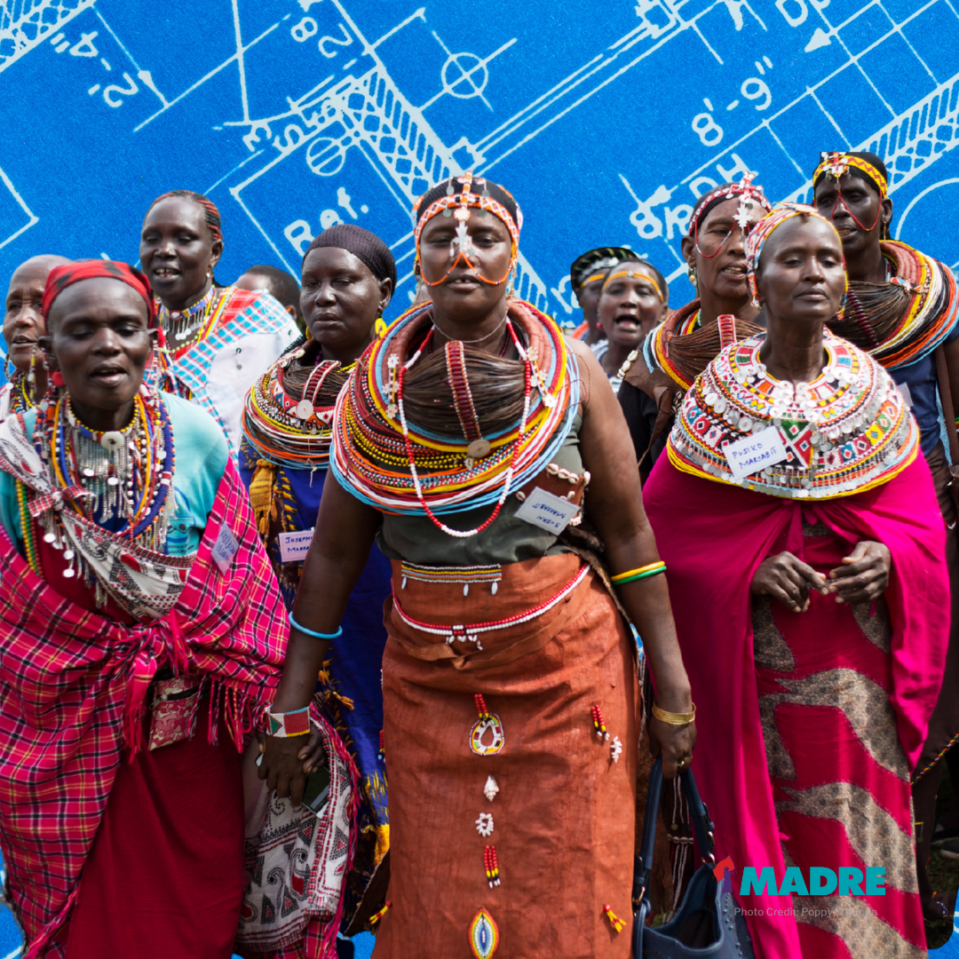 Image of Kenyan women in traditional dress standing in front of a blueprint graphic.