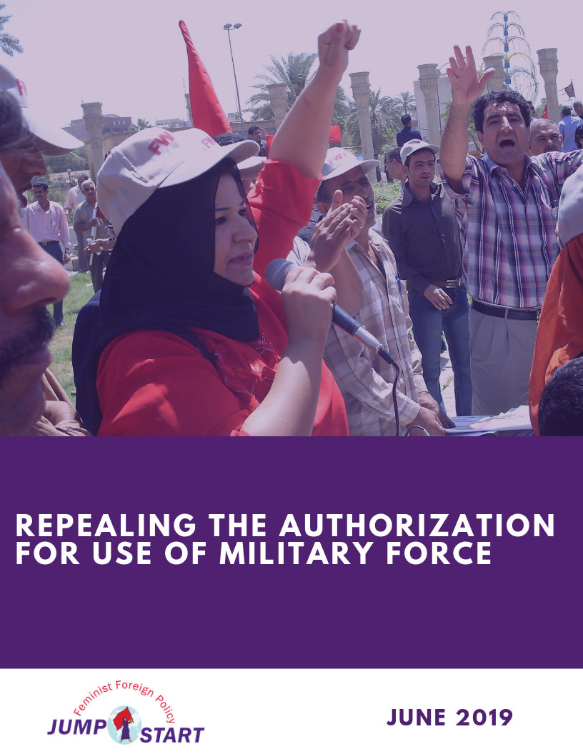 Cover for resource text. Woman holds her fist up while speaking in microphone. Text Reads: Repealing the Authorization for Use of Military Force