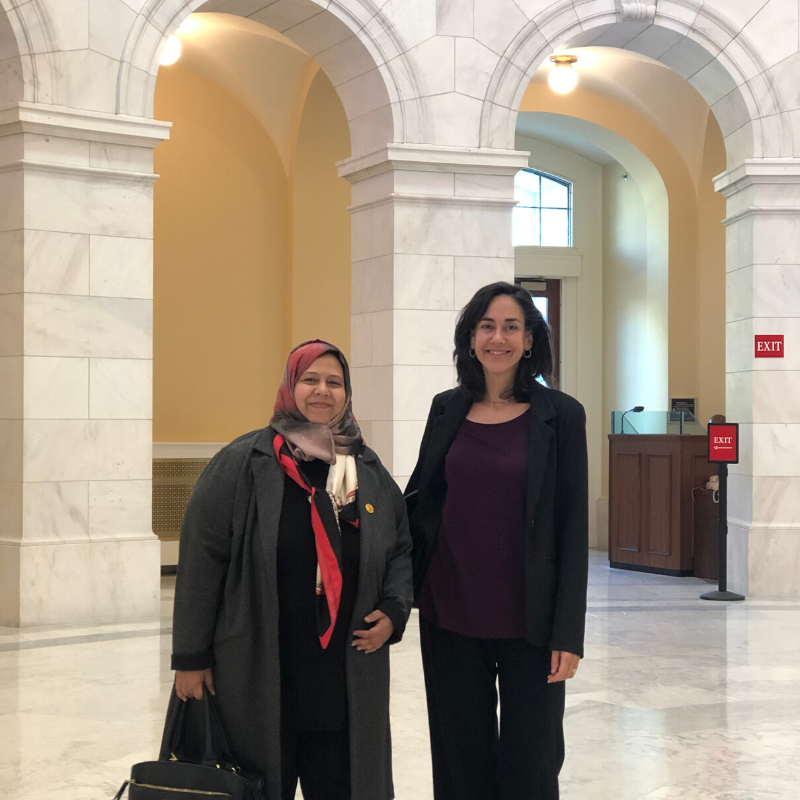 Muna Luqman and MADRE Executive Director Yifat Susskind in between meetings with progressive policymakers in Washington, DC.