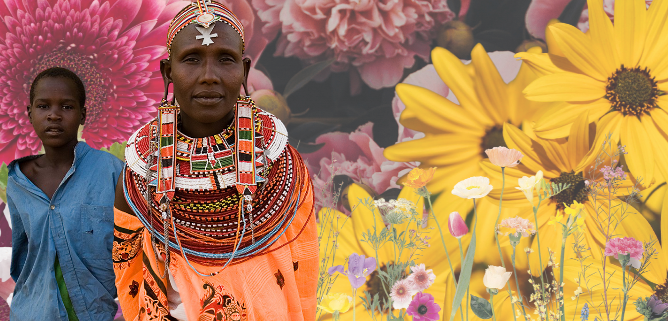 An image of an older woman with a young teen collaged onto images of flowers.