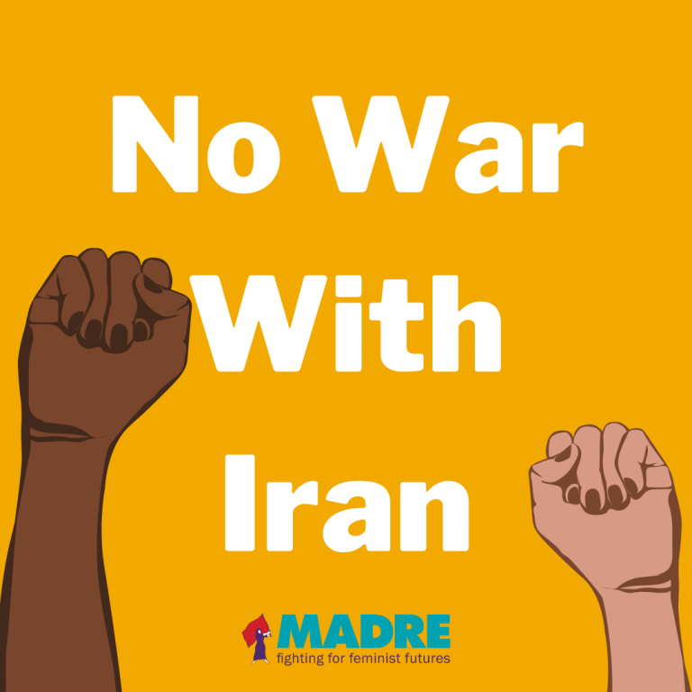 "Text graphic that reads ""No War With Iran"" with animated solidarity fists side-by-side"