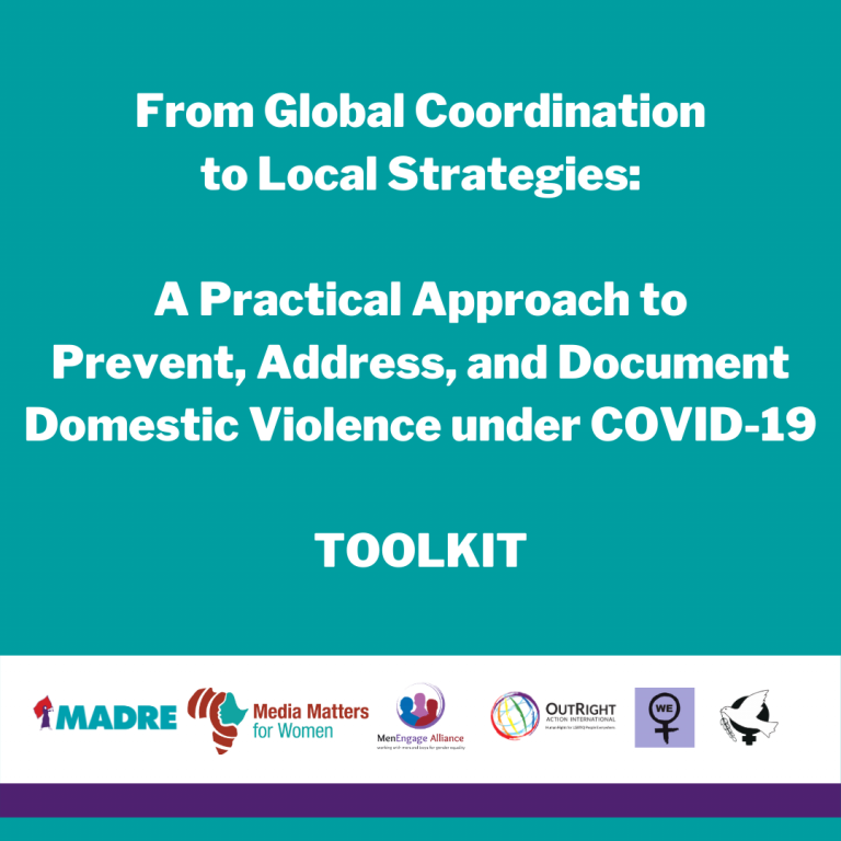 Graphic with text: From Global Coordination to Local Strategies: A Practical Approach to Prevent, Address, and Document Domestic Violence under COVID-19 TOOLKIT