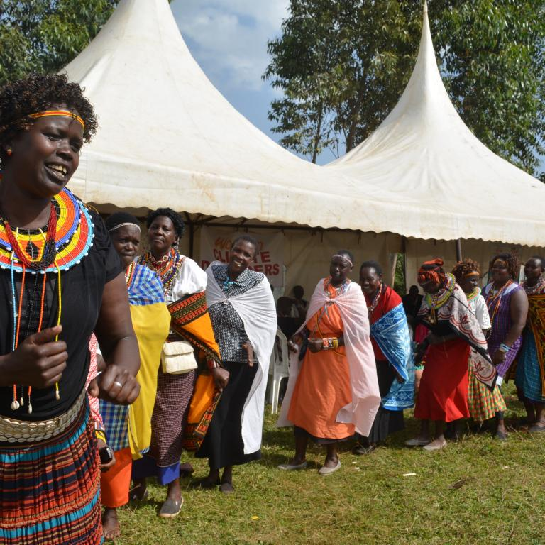 Selina leading a dance in Kenya
