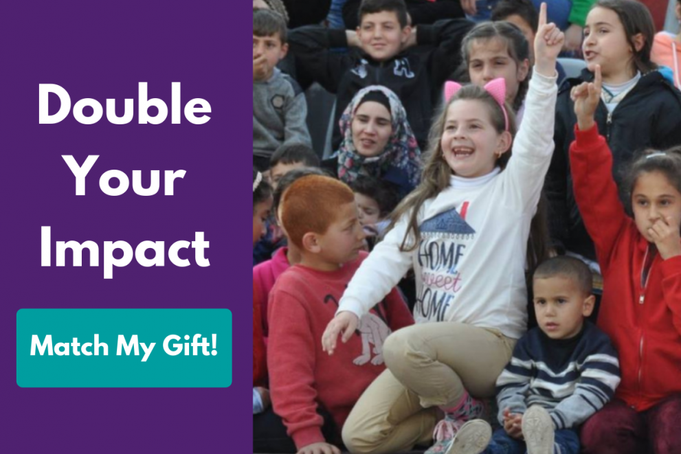 Pop-up graphic is a young girl raising her hand high in the air. Text reads: Double Your Impact. Match My Gift!