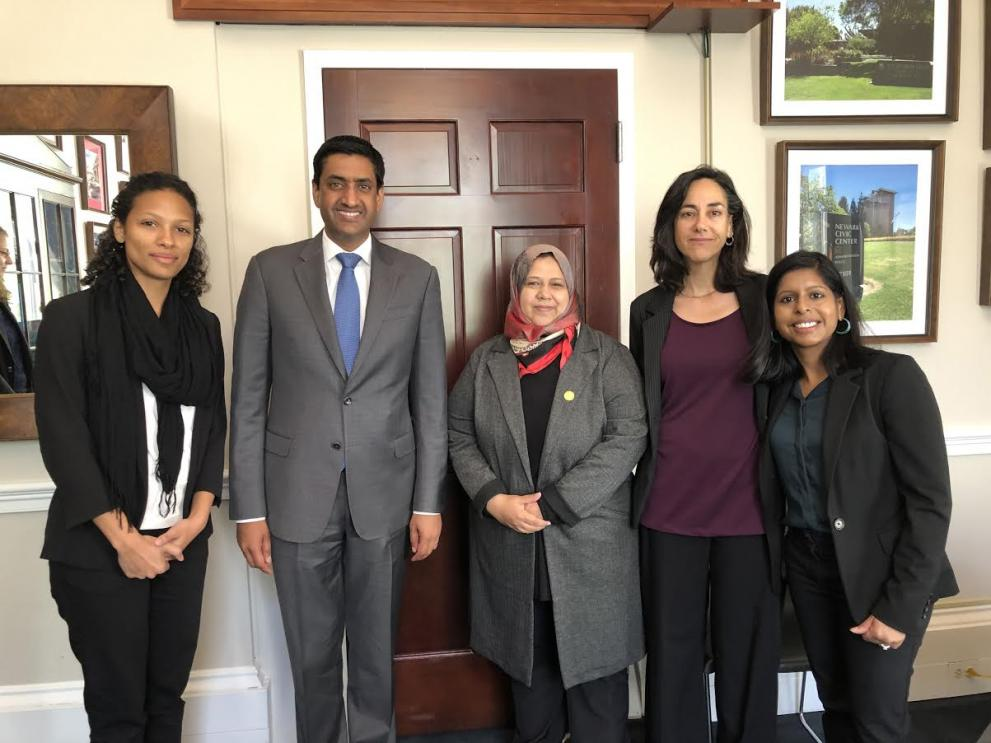 Muna Luqman and MADRE's team with Representative Ro Khanna after a meeting to discuss an end to the war in Yemen.