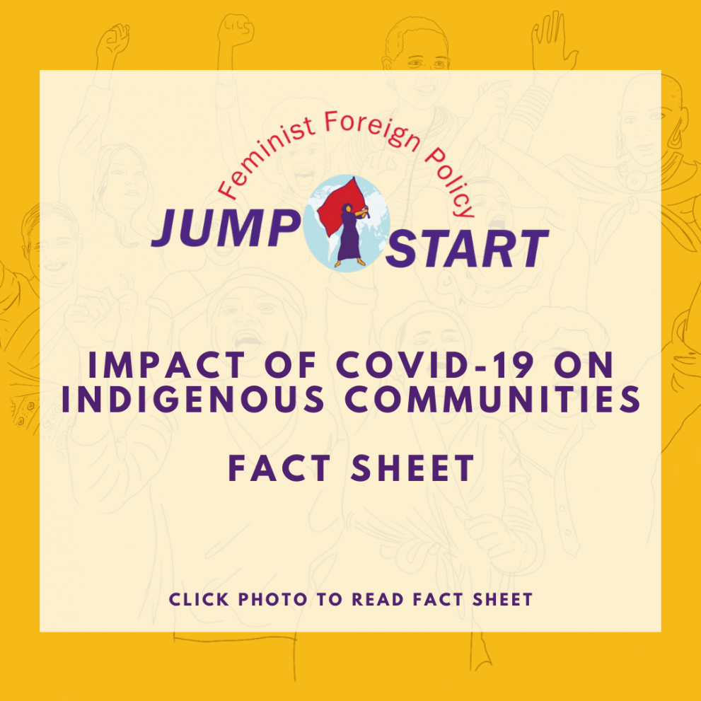 Yellow and white colorblock graphic with Feminist Foreign Policy Logo of a woman with a red flag in front of an image of the earth. Reads: Impact of COVID-19 on Indigenous Communities. Fact Sheet. Click photo to read fact sheet