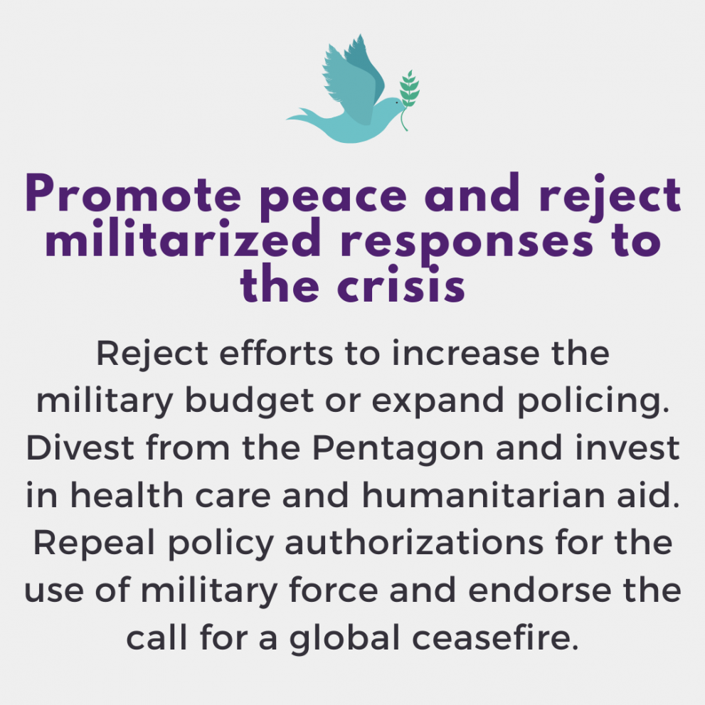 Promote peace and reject militarized responses to the crisis. Reject efforts to increase the military budget or expand policing. Divest from the Pentagon and invest in health care and humanitarian aid.