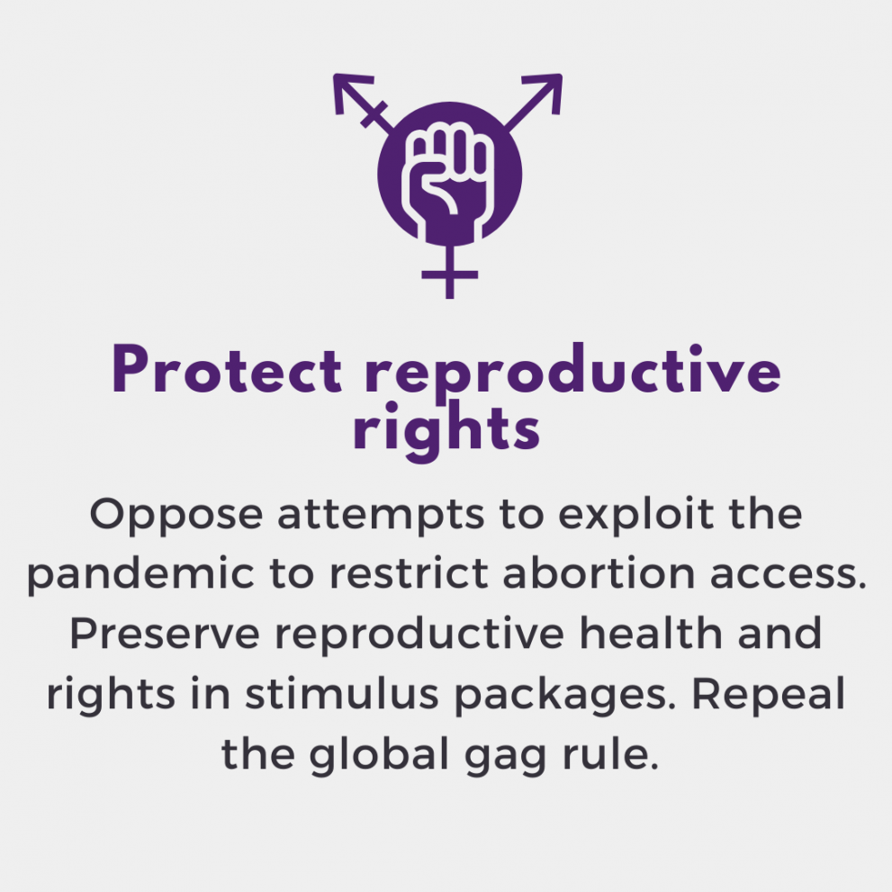 Protect reproductive rights. Oppose attempts to exploit the pandemic to restrict abortion access. Preserve reproductive health and rights in stimulus packages. Repeal the global gag rule.