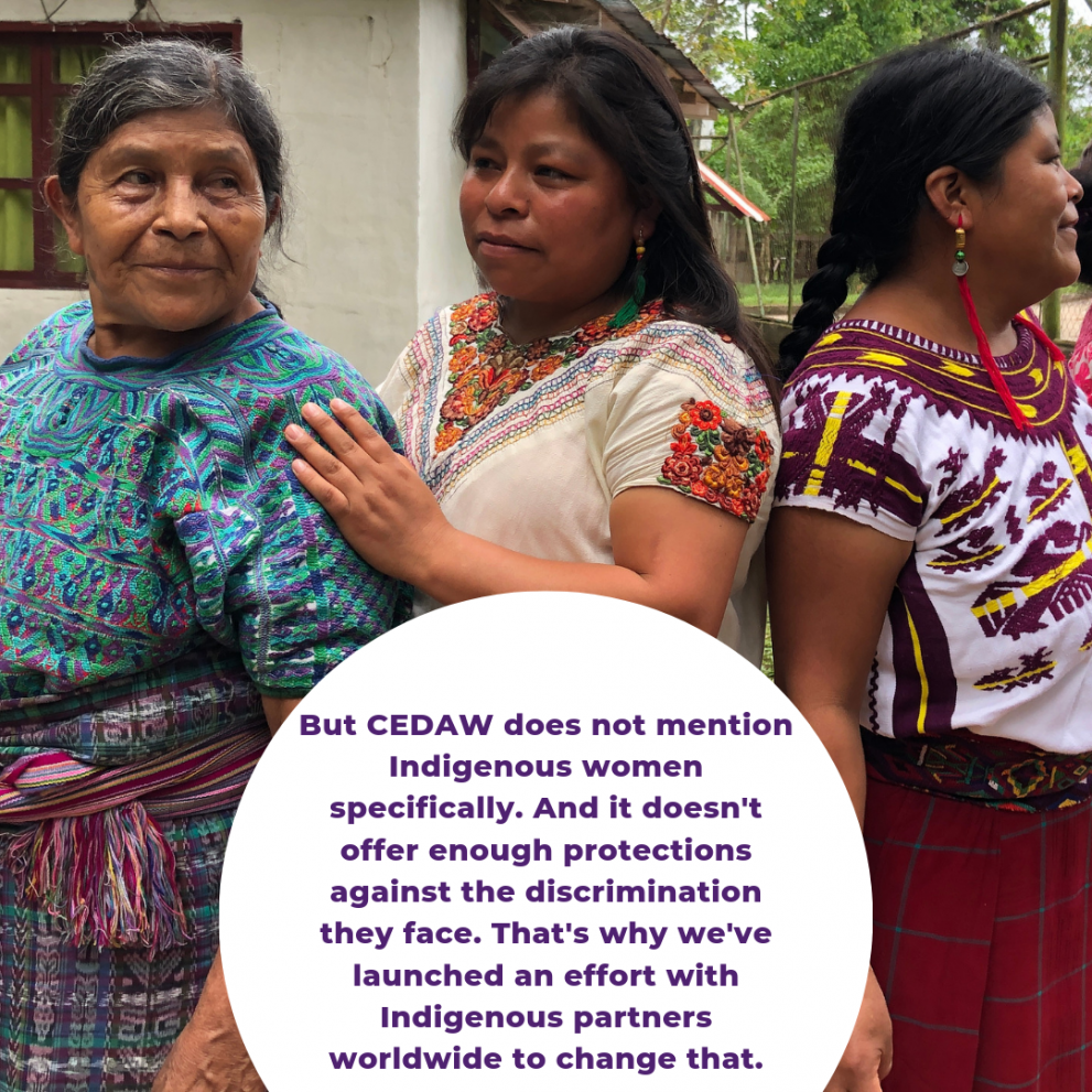 But CEDAW does not mention Indigenous women specifically. And it doesn't offer enough protections against the discrimination they face. That's why we've launched an effort with Indigenous partners worldwide to change that.