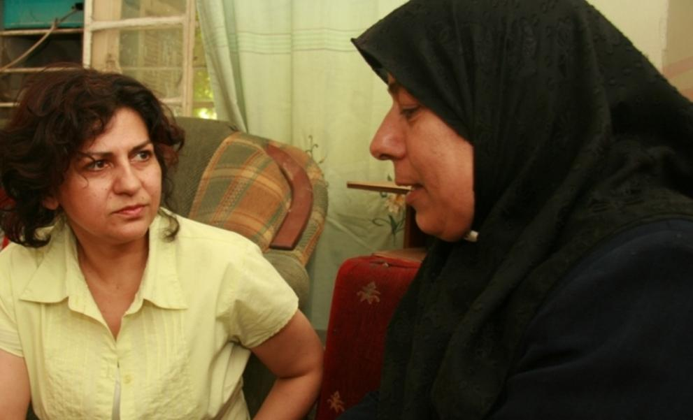 Yanar Mohammed, leader of OWFI, counsels a woman at a MADRE-supported shelter in Iraq