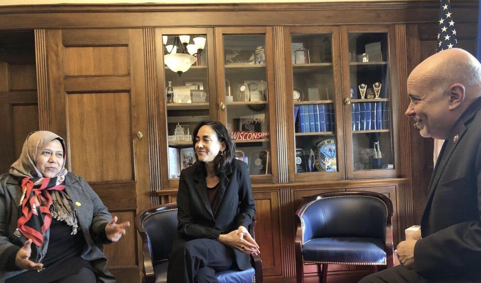 Muna Luqman and MADRE Executive Director Yifat Susskind shared solutions to the humanitarian crisis with Representative Mark Pocan.