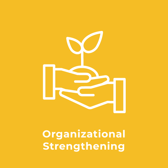 "Graphic image with text that reads ""Organizational Strengthening"""
