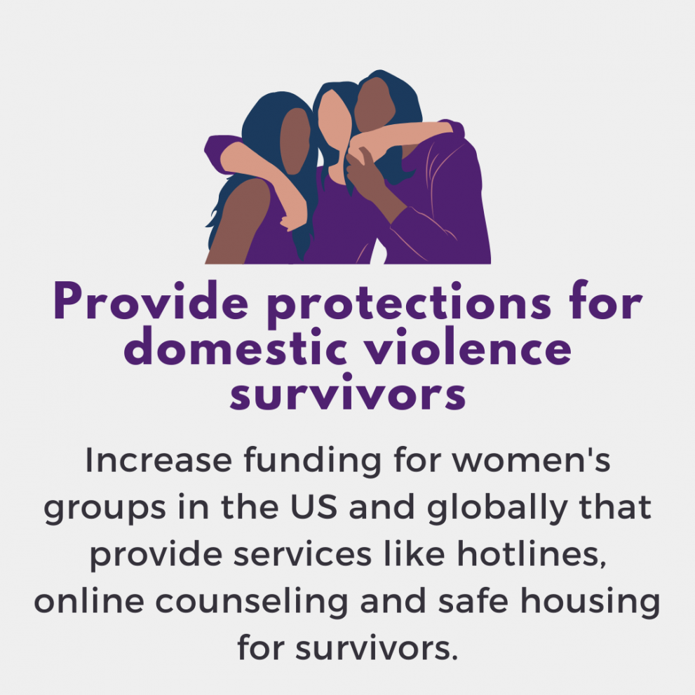 Provide protections for domestic violence survivors. Increase funding for women's groups in the US and globally that provide services like hotlines, online counseling and safe housing for survivors.