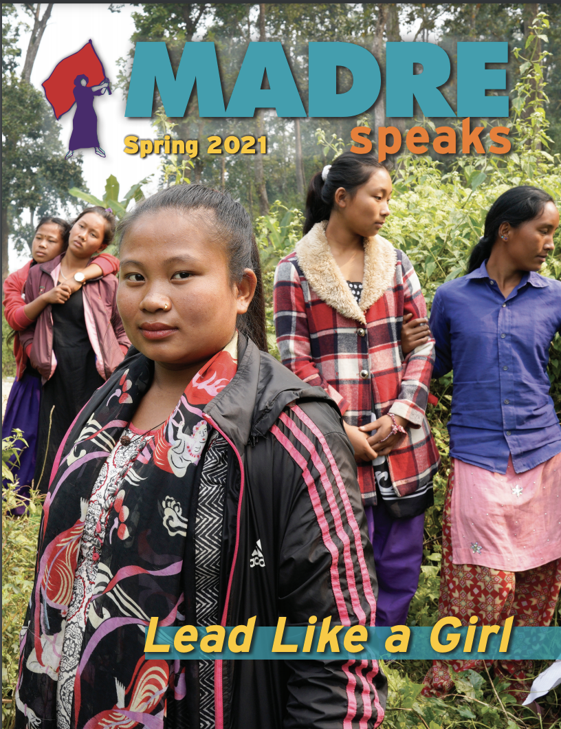 Cover image for MADRE Speaks Fall 2021 newsletter featuring a young Afro-Colombian girl looking away, into the distance.