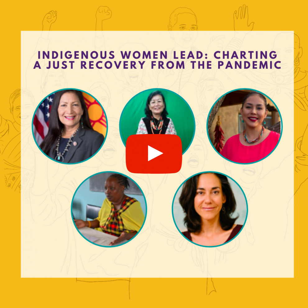 """Thumbnail image featuring the headshots of Indigenous Women Lead webinar participants. There is a """"play"""" button to indicate this is a click-through image."""