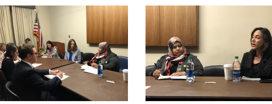 Muna Luqman and Yifat Susskind, MADRE Executive Director, speaking at our Capitol briefing on October 24.