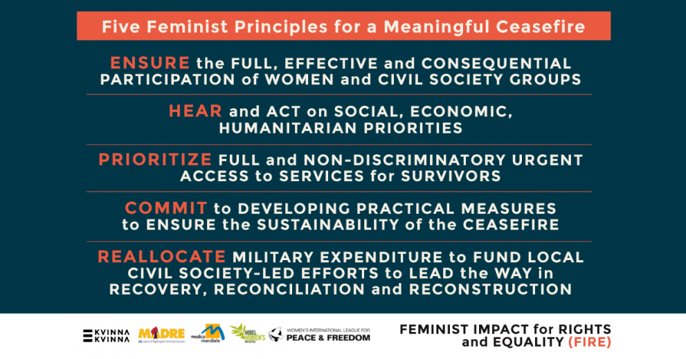 Five Feminist Principles for a Meaningful Ceasefire