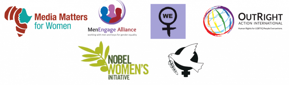 Logos for Media Matters for Women, MenEngage, OutRight Action International, Women Enabled, Nobel Women's Initiative and Women's International League for Peace and Freedom (WILPF)