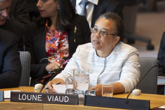 Loune Viaud speaking at UN Security Council Briefing on Haiti