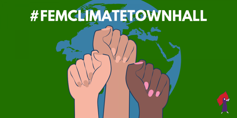 Graphic with three solidarity fists that reads #FemClimateTownHall