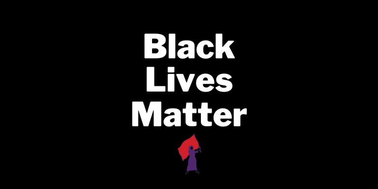 "Black background graphic that reads ""Black Lives Matter"" in white text. The MADRE logo sits at the bottom of the text."